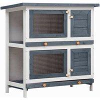Outdoor Rabbit Hutch 4 Doors Grey Wood VD35615 - Hommoo
