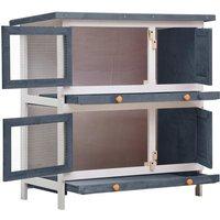 Outdoor Rabbit Hutch 4 Doors Grey Wood QAH35615 - Hommoo