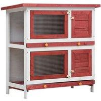 Outdoor Rabbit Hutch 4 Doors Red Wood VD35617 - Hommoo