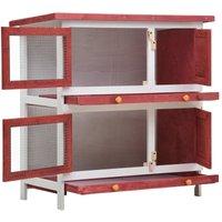 Outdoor Rabbit Hutch 4 Doors Red Wood QAH35617 - Hommoo