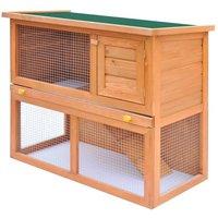 Outdoor Rabbit Hutch Small Animal House Pet Cage 1 Door Wood VD06896 - Hommoo
