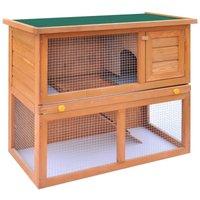 Outdoor Rabbit Hutch Small Animal House Pet Cage 1 Door Wood QAH06896 - Hommoo