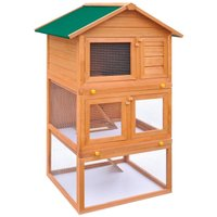 Outdoor Rabbit Hutch Small Animal House Pet Cage 3 Layers Wood QAH06899 - Hommoo