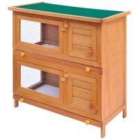 Outdoor Rabbit Hutch Small Animal House Pet Cage 4 Doors Wood QAH06897 - Hommoo