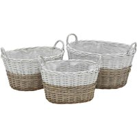 Planter 3 pcs Wicker with PE Lining VD12752 - Hommoo