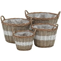Planter 4 pcs Wicker with PE Lining VD12751 - Hommoo