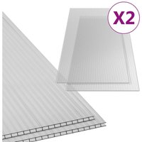 Polycarbonate Sheets 2 pcs 6 mm 150x65 cm QAH35527 - Hommoo