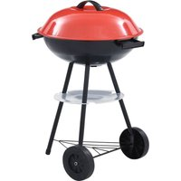 Hommoo Portable XXL Charcoal Kettle BBQ Grill with Wheels 44 cm VD45610