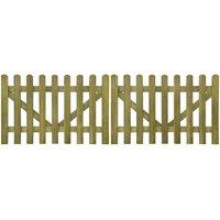 Portail de clôture à piquets 2 pcs Bois imprégné FSC 300x100 cm VD26766 - Hommoo