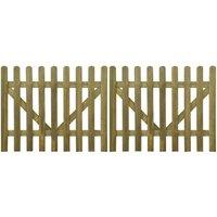 Portail de clôture à piquets 2 pcs Bois imprégné FSC 300x120 cm VD26767 - Hommoo