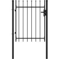 Portillon simple porte avec dessus à pointe Acier 1x1,2 m Noir HDV06545 - Hommoo