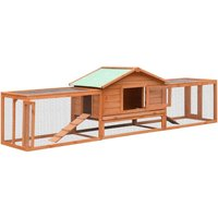 Rabbit Hutch Solid Pine and Fir Wood 303x60x86 cm VD07198 - Hommoo