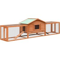 Rabbit Hutch Solid Pine and Fir Wood 303x60x86 cm QAH07198 - Hommoo