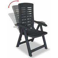 Reclining Garden Chairs 4 pcs Plastic Anthracite QAH18008 - Hommoo