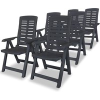 Reclining Garden Chairs 6 pcs Plastic Anthracite VD18009 - Hommoo