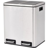 Recycling Pedal Bin Garbage Trash Bin Stainless Steel 2x15 L VD30471 - Hommoo