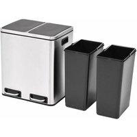 Recycling Pedal Bin Garbage Trash Bin Stainless Steel 2x15 L QAH30471 - Hommoo