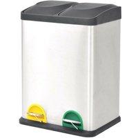 Recycling Pedal Bin Garbage Trash Bin Stainless Steel 2x18 L VD30468 - Hommoo