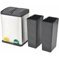 Recycling Pedal Bin Garbage Trash Bin Stainless Steel 2x18 L QAH30468 - Hommoo
