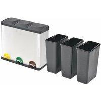 Recycling Pedal Bin Garbage Trash Bin Stainless Steel 3x18 L QAH30470 - Hommoo