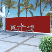 Hommoo Retractable Side Awning 160 x 500 cm Red VD29595