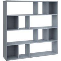 Room Divider/Book Cabinet High Gloss Grey 110x24x110 cm Chipboard QAH31397 - Hommoo