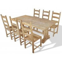 Seven Piece Massive Dining Table and Chair Set Teak QAH10237 - Hommoo