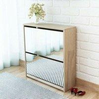 Shoe Cabinet 2-Layer Mirror Oak 63x17x67 cm VD09611 - Hommoo