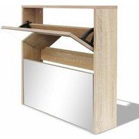Shoe Cabinet 2-Layer Mirror Oak 63x17x67 cm QAH09611 - Hommoo