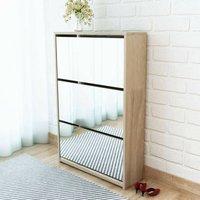 Shoe Cabinet 3-Layer Mirror Oak 63x17x102.5 cm VD09613 - Hommoo