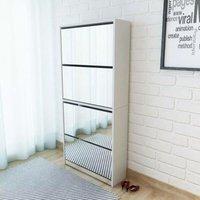 Shoe Cabinet 4-Layer Mirror White 63x17x134 cm VD17294 - Hommoo