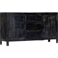 Hommoo Sideboard Black 147x40x80 cm Solid Mango Wood QAH13836