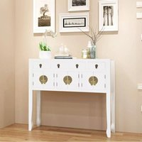 Hommoo Sideboard Chinese Style Solid Wood White VD09356