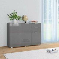 Sideboard High Gloss Grey 107x35x76 cm VD24411 - Hommoo