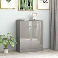 Sideboard High Gloss Grey 60x30x75 cm Chipboard - Hommoo