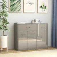 Sideboard High Gloss Grey 88x30x70 cm Chipboard - Hommoo