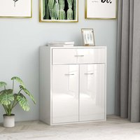 Hommoo Sideboard High Gloss White 60x30x75 cm Chipboard