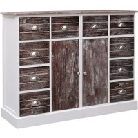 Sideboard with 10 Drawers Brown 113x30x79 cm Wood VD24715 - Hommoo