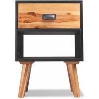 Solid Acacia Wood Bedside Cabinet 40x30x58 cm QAH09665 - Hommoo
