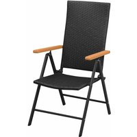 Stackable Garden Chairs 2 pcs Poly Rattan Black QAH27279 - Hommoo