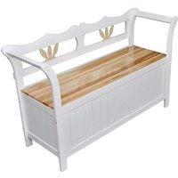 Storage Bench 126x42x75 cm Wood White VD30975 - Hommoo