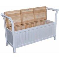 Storage Bench 126x42x75 cm Wood White QAH30975 - Hommoo