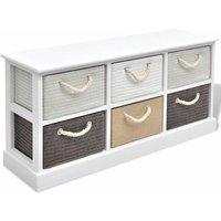 Storage Bench 6 Drawers Wood QAH09505 - Hommoo