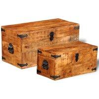 Storage Chest Set 2 Pieces Rough Mango Wood VD08872 - Hommoo