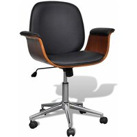 Swivel Office Chair Bent Wood and Faux Leather VD33049 - Hommoo