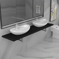 Three Piece Bathroom Furniture Set Ceramic Black VD21614 - Hommoo