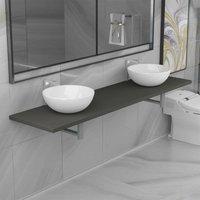 Three Piece Bathroom Furniture Set Ceramic Grey VD21609 - Hommoo