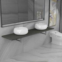 Three Piece Bathroom Furniture Set Ceramic Grey VD21611 - Hommoo