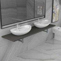 Hommoo Three Piece Bathroom Furniture Set Ceramic Grey VD21610