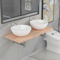 Three Piece Bathroom Furniture Set Ceramic Oak VD21567 - Hommoo